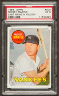 Baseball Cards:Singles (1960-1969), 1969 Topps Mickey Mantle, Yellow Letters #500 PSA EX 5. ...