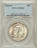 Walking Liberty Half Dollars: , 1929-D 50C MS64 PCGS. PCGS Population (342/248). NGC Census:(195/93). Mintage: 1,001,200. Numismedia Wsl. Price for proble...