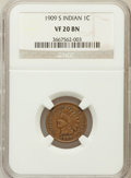 Indian Cents: , 1909-S 1C VF20 NGC. NGC Census: (156/1336). PCGS Population(291/2089). Mintage: 309,000. Numismedia Wsl. Price for problem...