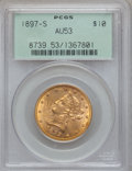Liberty Eagles: , 1897-S $10 AU53 PCGS. PCGS Population (18/190). NGC Census:(10/298). Mintage: 234,750. Numismedia Wsl. Price for problem f...
