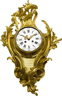 French Ornate Gilt Wall Cartel Clock Eight Day Time & Strike, circa 1880