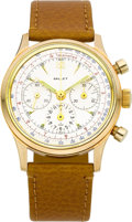 Timepieces:Wristwatch, Gallet & Co. Vintage Gold Waterproof Chronograph, circa 1950....