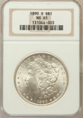 Morgan Dollars: , 1890-S $1 MS65 NGC. NGC Census: (369/51). PCGS Population(665/142). Mintage: 8,230,373. Numismedia Wsl. Price for problem...