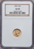 Gold Dollars: , 1855 G$1 AU58 NGC. NGC Census: (1935/1565). PCGS Population(451/1243). Mintage: 758,269. Numismedia Wsl. Price for problem...