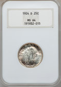 Standing Liberty Quarters: , 1924-D 25C MS64 NGC. NGC Census: (309/715). PCGS Population(577/590). Mintage: 3,112,000. Numismedia Wsl. Price for proble...
