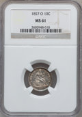 Seated Dimes: , 1857-O 10C MS61 NGC. NGC Census: (8/106). PCGS Population (4/93).Mintage: 1,540,000. Numismedia Wsl. Price for problem fre...