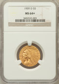Indian Half Eagles, 1909-D $5 MS64+ NGC. NGC Census: (2502/82). PCGS Population(2661/112). Mintage: 3,423,560. Numismedia Wsl. Price for probl...