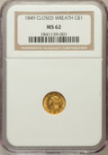 Gold Dollars: , 1849 G$1 Closed Wreath MS62 NGC. NGC Census: (103/197). PCGSPopulation (31/118). ...