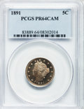 Proof Liberty Nickels: , 1891 5C PR64 Cameo PCGS. PCGS Population (36/42). NGC Census:(29/71). ...