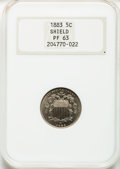 Proof Shield Nickels: , 1883 5C PR63 NGC. NGC Census: (74/907). PCGS Population (123/998).Mintage: 5,419. Numismedia Wsl. Price for problem free N...