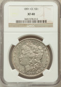 Morgan Dollars: , 1891-CC $1 XF40 NGC. NGC Census: (46/7963). PCGS Population(69/13552). Mintage: 1,618,000. Numismedia Wsl. Price for probl...