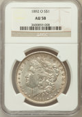 Morgan Dollars: , 1892-O $1 AU58 NGC. NGC Census: (181/3968). PCGS Population(76/5793). Mintage: 2,744,000. Numismedia Wsl. Price for proble...