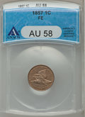 Flying Eagle Cents: , 1857 1C AU58 ANACS. NGC Census: (152/2056). PCGS Population(210/2432). Mintage: 17,450,000. Numismedia Wsl. Price for prob...