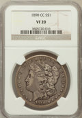 Morgan Dollars: , 1890-CC $1 VF20 NGC. NGC Census: (66/5618). PCGS Population(98/10063). Mintage: 2,309,041. Numismedia Wsl. Price for probl...