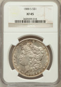 Morgan Dollars: , 1888-S $1 XF45 NGC. NGC Census: (86/3628). PCGS Population(170/6172). Mintage: 657,000. Numismedia Wsl. Price for problem ...