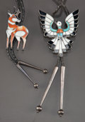 American Indian Art:Jewelry and Silverwork, TWO ZUNI SILVER, STONE, AND SHELL BOLO TIES. c.... (Total: 2 )