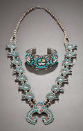 American Indian Art:Jewelry and Silverwork, A ZUNI SQUASH BLOSSOM NECKLACE AND BRACELET. c. 1965... (Total: 2Items)