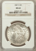 Morgan Dollars: , 1887-S $1 MS62 NGC. NGC Census: (1221/2678). PCGS Population(1739/4723). Mintage: 1,771,000. Numismedia Wsl. Price for pro...