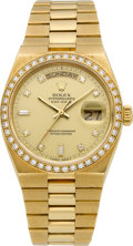 Timepieces:Wristwatch, Rolex Ref. 19018N Gold Oysterquartz Day-Date President With Diamonds. ...