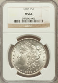 Morgan Dollars: , 1882 $1 MS64 NGC. NGC Census: (6279/1408). PCGS Population(4852/1462). Mintage: 11,101,100. Numismedia Wsl. Price for prob...