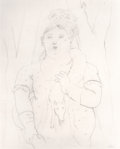 Post-War & Contemporary:Contemporary, FERNANDO BOTERO (Columbian, b. 1932). Woman with a FoxScarf. Pencil on paper. 15-3/4 x 12-3/4 inches (40.0 x 32.4cm). ...