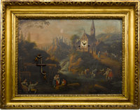 """""""Country Scene"""" Rare Hour & Half Hour Striking Clock Painting With """"Wood Cutter"""" Automaton..."""