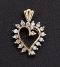 Estate Jewelry:Pendants and Lockets, Diamond Heart Gold Pendant. ...