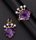 Estate Jewelry:Coin Jewelry and Suites, Amethyst Heart & Diamond Gold Pendant & Ring. ... (Total: 2 Items)