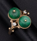 Estate Jewelry:Rings, Jade Bead & Diamond Ring. ...