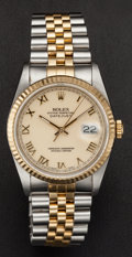 Timepieces:Wristwatch, Rolex Ref. 16233 Steel & 18k Gold Gent's Oyster Perpetual Datejust, Box & Papers, circa 1988. ...