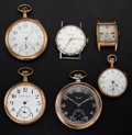 Timepieces:Other , A Lot Of Four Pocket Watches & Two Wristwatches. ... (Total: 6Items)