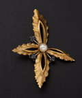 Estate Jewelry:Brooches - Pins, Cultured Pearl & Sapphire 18k Gold Brooch. ...