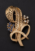 Estate Jewelry:Brooches - Pins, Diamond & Sapphire Gold Brooch. ...
