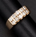 Estate Jewelry:Rings, Terrific Double Row Diamond & Gold Ring. ...