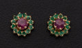 Estate Jewelry:Earrings, Ruby & Emerald Stud Earrings. ...