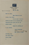 Autographs:Authors, Mrs. Alfred A. [Blanche] Knopf, American Publisher. Typed LetterSigned. Overall fine....