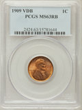 Lincoln Cents, 1909 VDB 1C MS63 Red and Brown PCGS. PCGS Population (704/3506).NGC Census: (505/2292). Mintage: 27,995,000. Numismedia Ws...