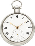 Timepieces:Pocket (pre 1900) , John Grant Fleet St. London Rare Silver Pocket Chronometer No.3345, circa 1780's. ...