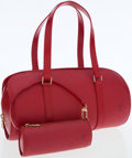 Luxury Accessories:Bags, Louis Vuitton Red Epi Leather Soufflot Shoulder Bag with Pochette....
