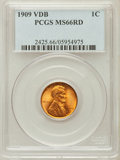Lincoln Cents, 1909 VDB 1C MS66 Red PCGS. PCGS Population (2078/225). NGC Census:(1452/106). Mintage: 27,995,000. Numismedia Wsl. Price f...