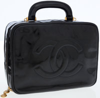 Chanel Black Patent Leather Travel Bag with Gold Hardware