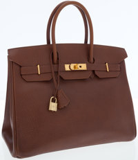 Hermes 35cm Marron Glace Buffalo Leather Birkin Bag with Gold Hardware