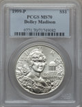 Modern Issues: , 1999-P $1 Dolley Madison Silver Dollar MS70 PCGS. PCGS Population(382). NGC Census: (898). Numismedia Wsl. Price for prob...