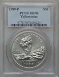 Modern Issues: , 1999-P $1 Yellowstone Silver Dollar MS70 PCGS. PCGS Population(240). NGC Census: (432). Numismedia Wsl. Price for problem...