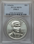 Modern Issues: , 1998-S $1 Black Patriots Silver Dollar MS70 PCGS. PCGS Population(168). NGC Census: (268). Numismedia Wsl. Price for prob...