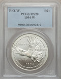 Modern Issues: , 1994-W $1 P.O.W. Silver Dollar MS70 PCGS. PCGS Population (399).NGC Census: (595). Mintage: 54,790. Numismedia Wsl. Price ...
