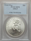 Modern Issues: , 1995-P $1 Civil War Silver Dollar MS70 PCGS. PCGS Population (145).NGC Census: (114). Numismedia Wsl. Price for problem f...