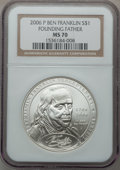 Modern Issues, 2006-P $1 Founding Father MS70 NGC. NGC Census: (6556). PCGSPopulation (658). Numismedia Wsl. Price for problem free NGC/...