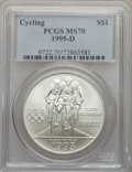Modern Issues: , 1995-D $1 Olympic/Cycling Silver Dollar MS70 PCGS. PCGS Population(126). NGC Census: (225). Numismedia Wsl. Price for pro...
