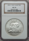 Modern Issues: , 2003-P $1 First Flight Silver Dollar MS70 NGC. NGC Census: (1082).PCGS Population (250). ...